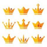 Gouden kroon, geplaatste koningshuispictogrammen Stock Fotografie