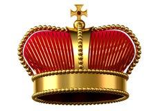 Gouden kroon met juwelen en rood fluweel Stock Afbeelding