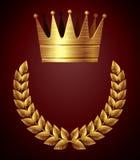 Gouden kroon met kroon stock afbeeldingen