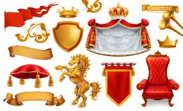 Gouden kroon van de koning Koninklijk stoel, mantel en hoofdkussen Drie kleurenpictogrammen op kartonmarkeringen royalty-vrije illustratie