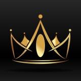 Gouden kroon voor embleem en ontwerp Stock Foto's