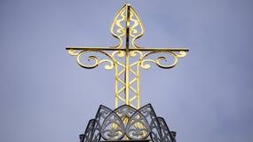Gouden kruis in een kroon, van 1881 Stock Foto's