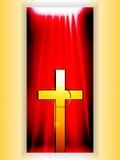 Gouden Kruis met ring over rebbanner royalty-vrije illustratie