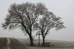 Gouden kruisigingsgedenkteken in saai landschap Royalty-vrije Stock Foto