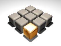 Gouden kubus Stock Foto