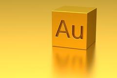 Gouden kubus met Au-teken Stock Fotografie