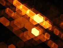 Gouden kubussen - abstract digitaal geproduceerd beeld Stock Foto