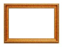 Gouden kunstframe dat op wit wordt geïsoleerdb Royalty-vrije Stock Fotografie