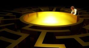 Gouden labyrint stock illustratie