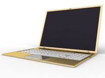 Gouden laptop â3 Royalty-vrije Stock Afbeeldingen