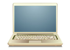 Gouden laptop Stock Foto