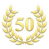 Gouden laurier in reliëf gemaakte 50ste verjaardag op witte achtergrond stock illustratie