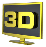 Gouden Lcd TVmonitor op witte achtergrond. Stock Foto's