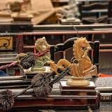 Gouden leeuw, een detail van een gondel, Venetië Stock Foto's