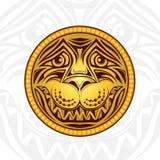 Gouden leeuw hoofdetiket Royalty-vrije Stock Afbeelding