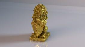 Gouden leeuwstandbeeld Stock Foto