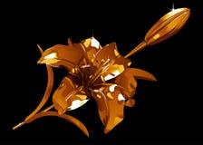 Gouden leliebloem en knop op een donkere achtergrond Royalty-vrije Stock Foto's