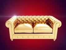 Gouden leunstoel het 3d teruggeven Royalty-vrije Stock Afbeelding