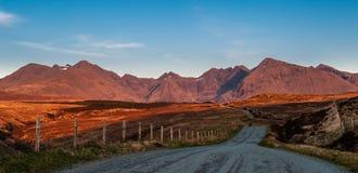 Gouden licht op Cuillins, Skye stock afbeelding