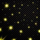 Gouden lichte sterren op zwarte transparante achtergrond Abstract bokeh het gloeien ontwerp Glans heldere elementen Gouden glanze Stock Foto's