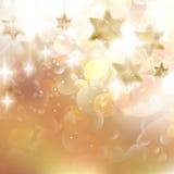 Gouden Lichten en Sterrenkerstmisachtergrond. Royalty-vrije Stock Fotografie