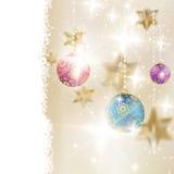 Gouden Lichten en Sterrenkerstmisachtergrond. Stock Afbeelding
