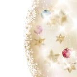 Gouden Lichten en Sterrenkerstmisachtergrond. Royalty-vrije Stock Afbeelding