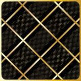 Gouden lijnen, stippen, Zwarte Achtergrond Royalty-vrije Stock Foto