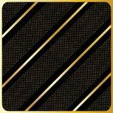 Gouden lijnen, stippen, Zwarte Achtergrond Royalty-vrije Stock Fotografie
