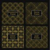 Gouden lineair kader Reeks van vier zwart-wit geometrisch Royalty-vrije Stock Foto