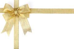 Gouden lint met boog Royalty-vrije Stock Foto