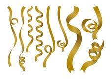 Gouden lint op witte achtergrond Royalty-vrije Stock Afbeeldingen
