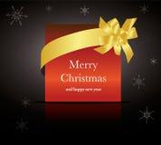 gouden lint rond Kerstmis of huwelijkskaart Stock Foto
