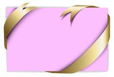 Gouden lint rond leeg roze document Stock Afbeelding