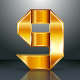Gouden lint van het aantalmetaal - 9 - negen vector illustratie