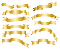 Gouden linten, bannersinzameling Stock Afbeelding