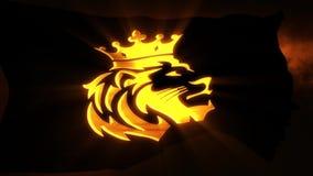 Gouden Lion King Flag met Lichte Stralen Intro Logo Motion Background royalty-vrije illustratie