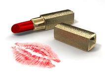 Gouden lippenstift Royalty-vrije Stock Foto's