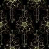 Gouden Lotus Modern Seamless Pattern Royalty-vrije Stock Fotografie