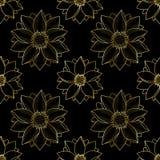 Gouden Lotus Modern Seamless Pattern Royalty-vrije Stock Foto's