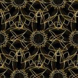 Gouden Lotus Modern Seamless Pattern Stock Fotografie