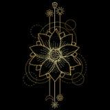 Gouden Lotus Modern Symbol Royalty-vrije Stock Afbeelding