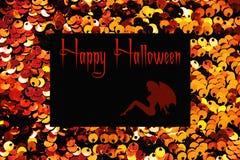 Gouden lovertjes textiel dichte omhooggaand als achtergrond Ronde lovertjestextuur Het concept van Halloween royalty-vrije stock foto's