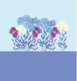 Gouden-madeliefje bloemenelement op lichtblauwe achtergrond royalty-vrije illustratie