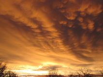 Gouden Mammatus-Wolken Royalty-vrije Stock Foto