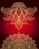 Gouden mandala en mehndi Stock Afbeeldingen
