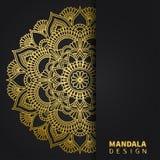 Gouden mandalaontwerp Etnisch rond ornament Hand getrokken Indisch motief Unieke gouden bloemendruk Elegante uitnodiging royalty-vrije stock foto's