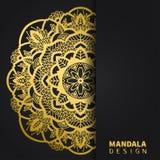 Gouden mandalaontwerp Etnisch rond ornament Hand getrokken Indisch motief Unieke gouden bloemendruk Elegante uitnodiging stock afbeeldingen