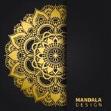 Gouden mandalaontwerp Etnisch rond ornament Hand getrokken Indisch motief Unieke gouden bloemendruk Elegante uitnodiging stock afbeelding