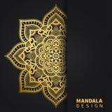 Gouden mandalaontwerp Etnisch rond ornament Hand getrokken Indisch motief Unieke gouden bloemendruk Elegante uitnodiging stock foto's